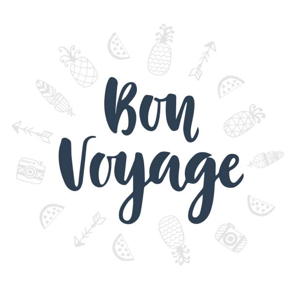Bon Voyage. Hand written lettering and cute doodles icons vector art illustration