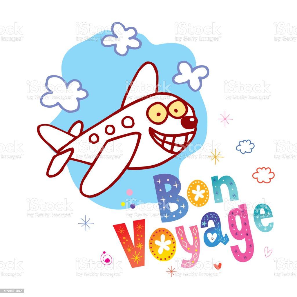 Bon Voyage - ont un beau voyage en Français - Illustration vectorielle