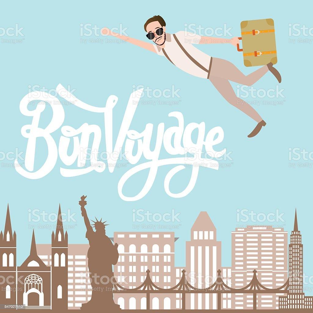 bon voyage man traveling flying bring luggage with city landscape - Illustration vectorielle