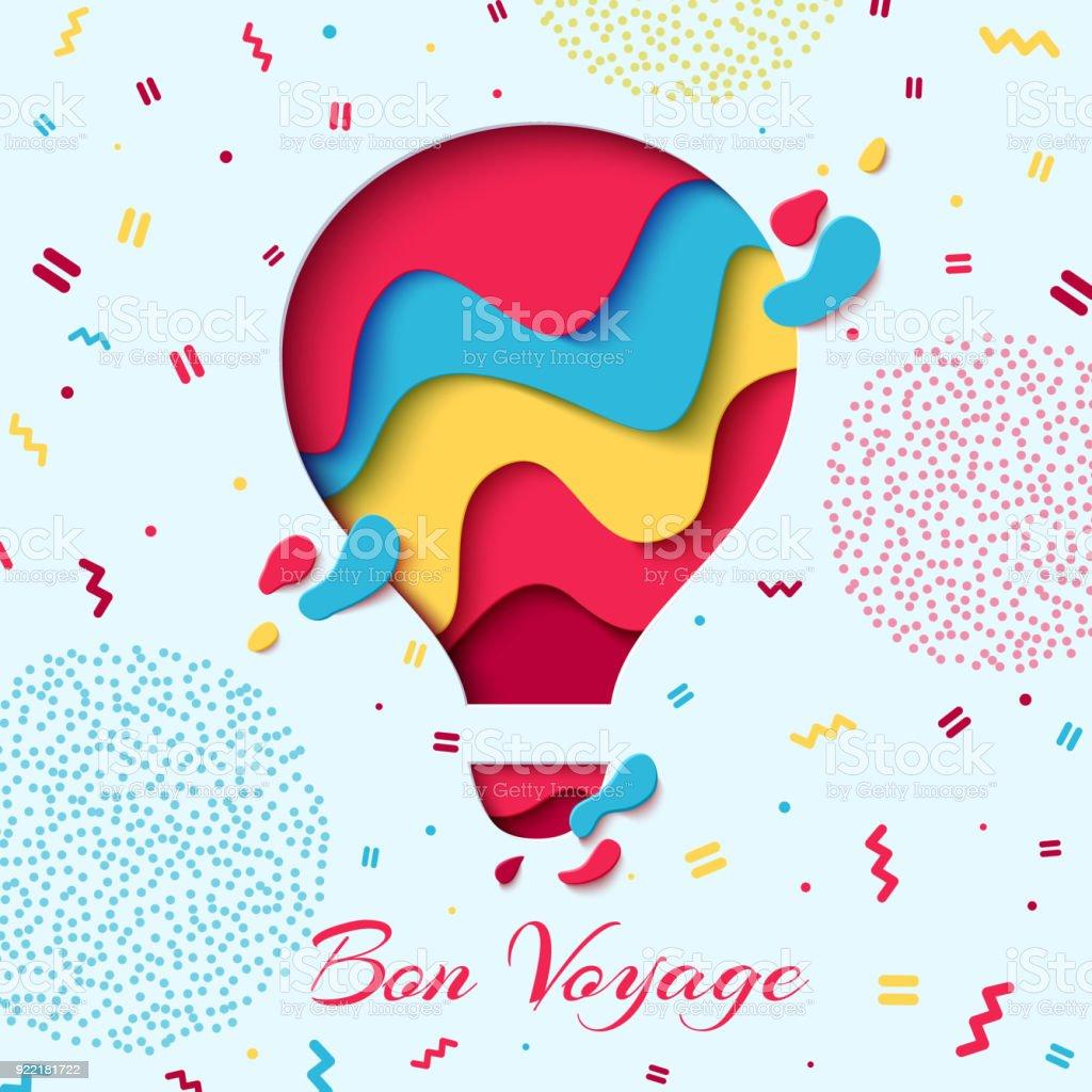 Bon Voyage papier art hot air balloon concept - Illustration vectorielle