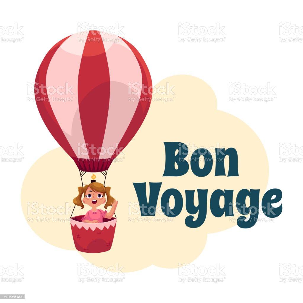 Carte postale de bon Voyage, bannière, affiche avec fille en ballon à air - Illustration vectorielle