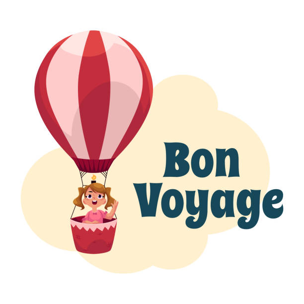 Bon Voyage postcard, banner, poster with girl in air balloon vector art illustration