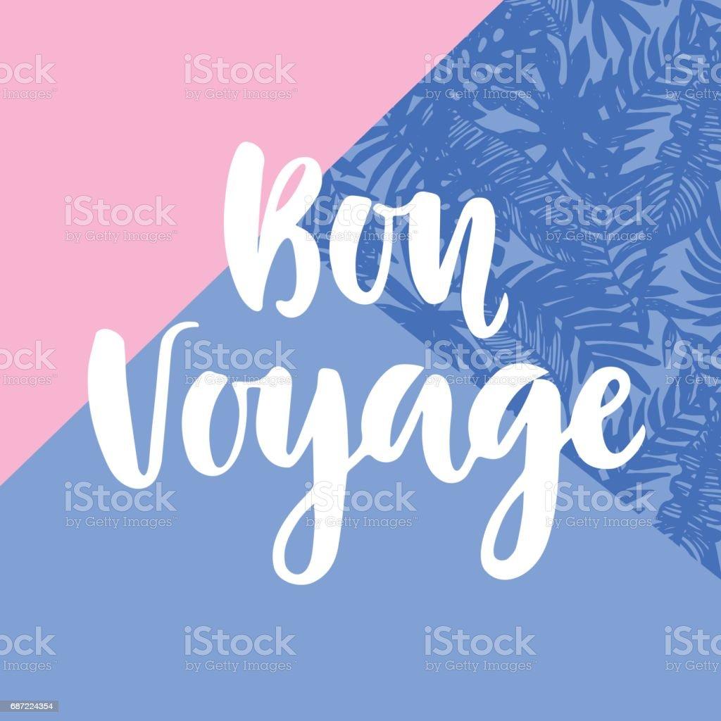 Bon Voyage poster with hand written lettering vector art illustration