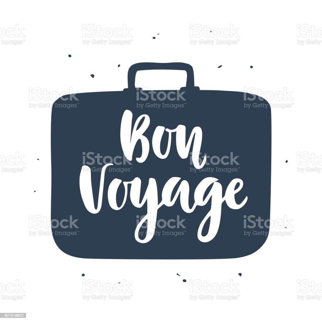 Affiche de bon Voyage avec inscription manuscrite - Illustration vectorielle