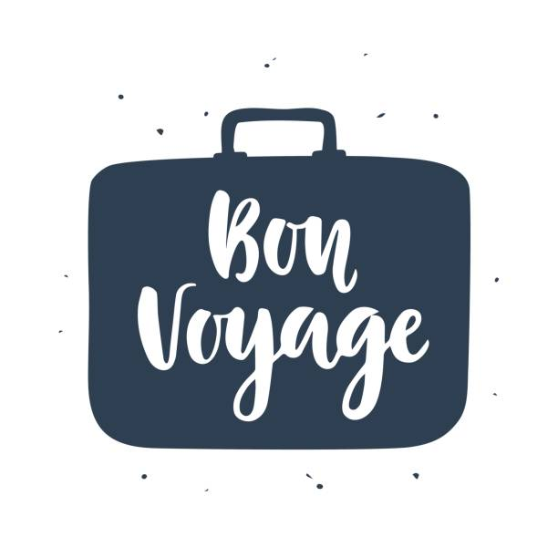 Bon Voyage poster with hand written lettering vector art illustration