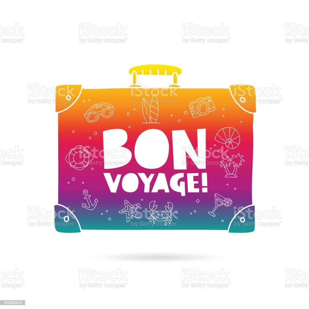 Bon Voyage. Rainbow bag vector art illustration