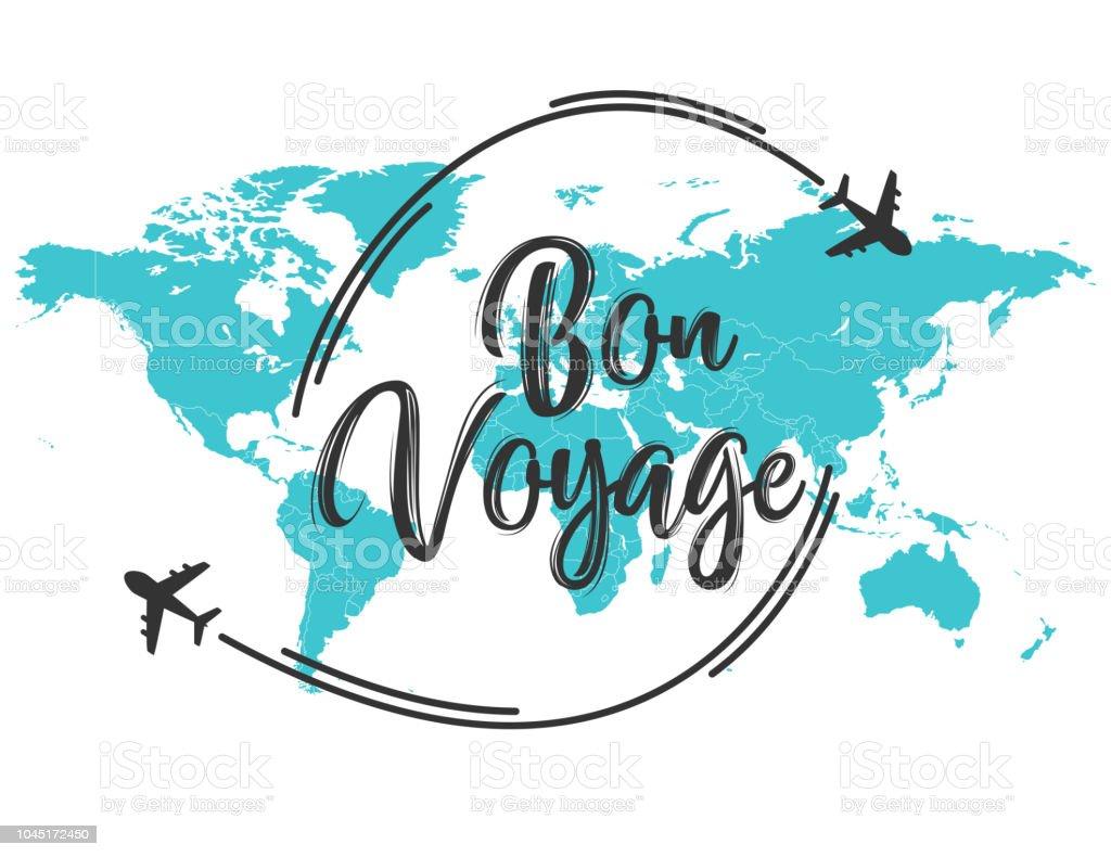 Citation d'inscription Bon Voyage - Illustration vectorielle