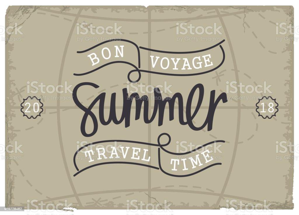 Bon Voyage. Temps de voyage de l'été. - Illustration vectorielle