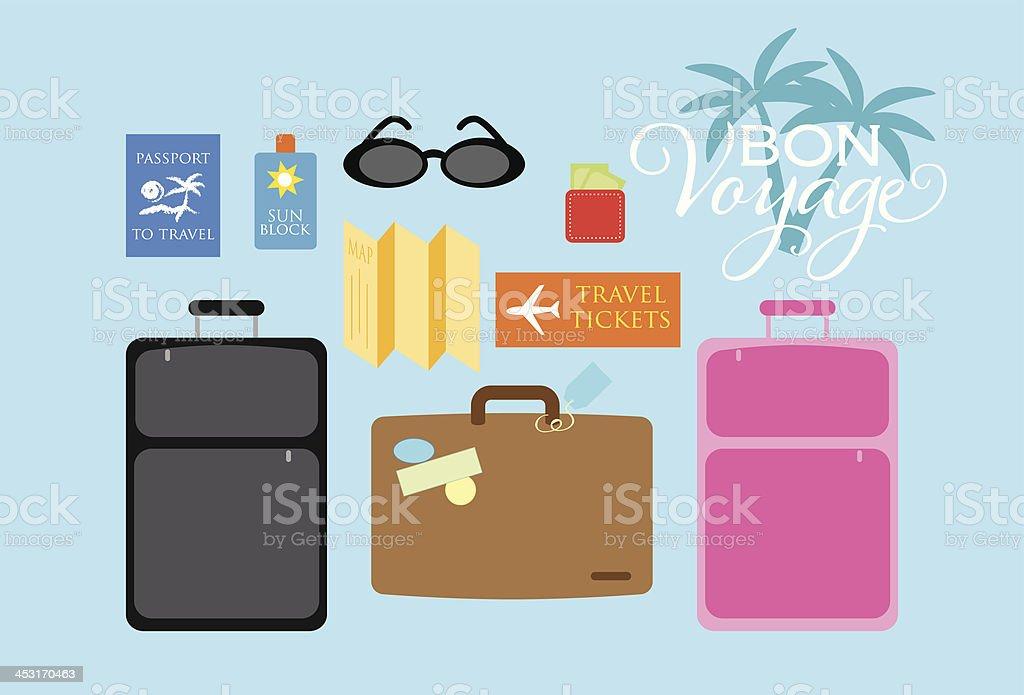 Bon Voyage Travel Set vector art illustration