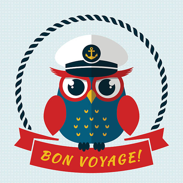 Bon voyage! Vector card with owl. vector art illustration