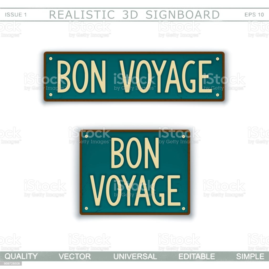 Bon Voyage. «Panneau» Vintage - Illustration vectorielle