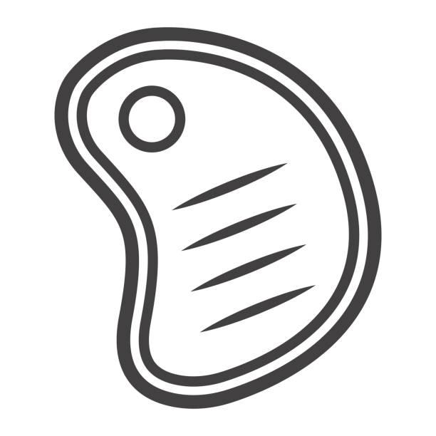 t bone rindfleisch steak liniensymbol, essen und trinken, vektorgrafiken grill zeichen, ein lineares muster auf weißem hintergrund, eps 10. - lachskuchen stock-grafiken, -clipart, -cartoons und -symbole