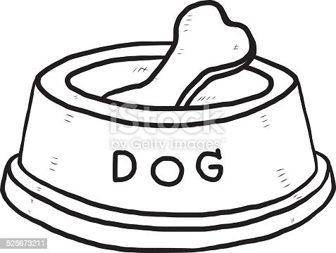 Bone In Dog Food Bowl Stock Vector Art & More Images of ...