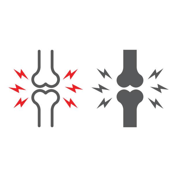 ilustrações, clipart, desenhos animados e ícones de linha da dor do osso e ícone do glifo, corpo e doloroso, sinal comum da dor, gráficos do vetor, um teste padrão linear em um fundo branco. - articulação humana