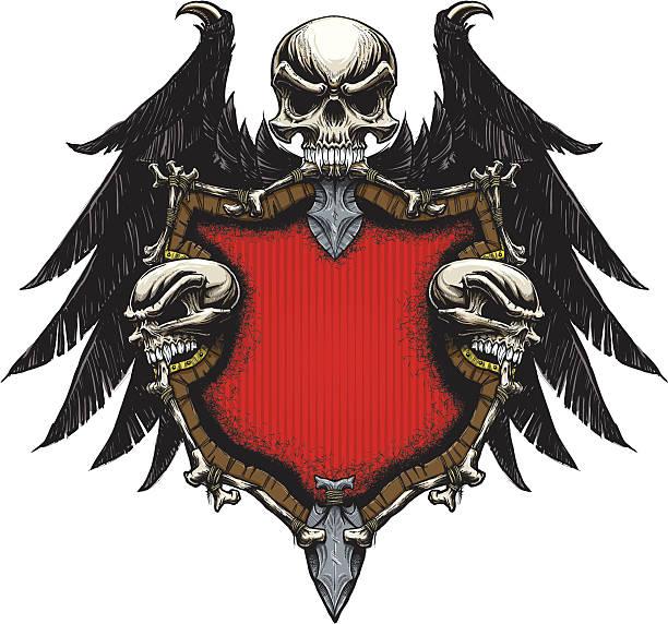Bone Shield and Wings vector art illustration