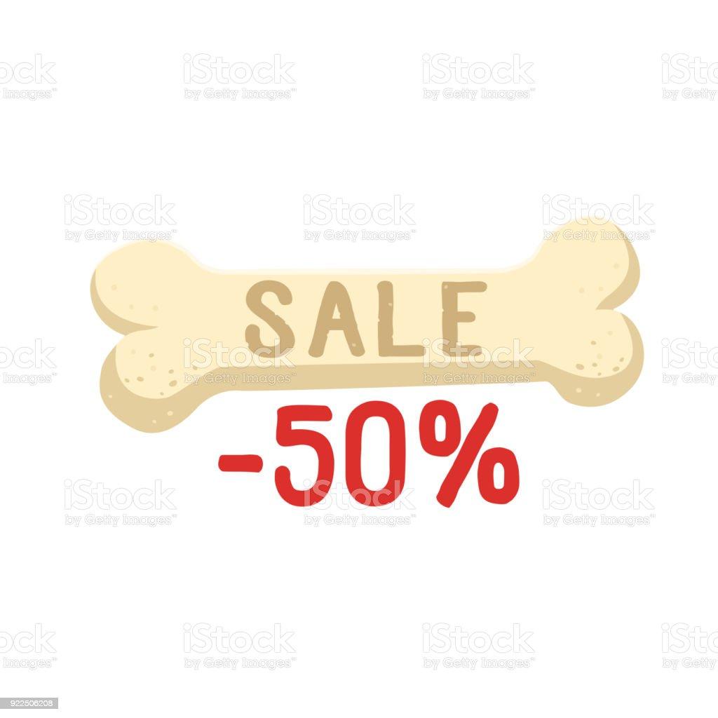 Hueso con ilustración plana de venta texto -50 por ciento de vector. Hueso aislado en icono de vector de fondo blanco. - ilustración de arte vectorial