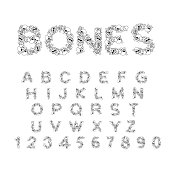 Bones alphabet. Letters anatomy. Skeleton font. Skull and spine. Jaw and pelvis. Hell Scary ABC
