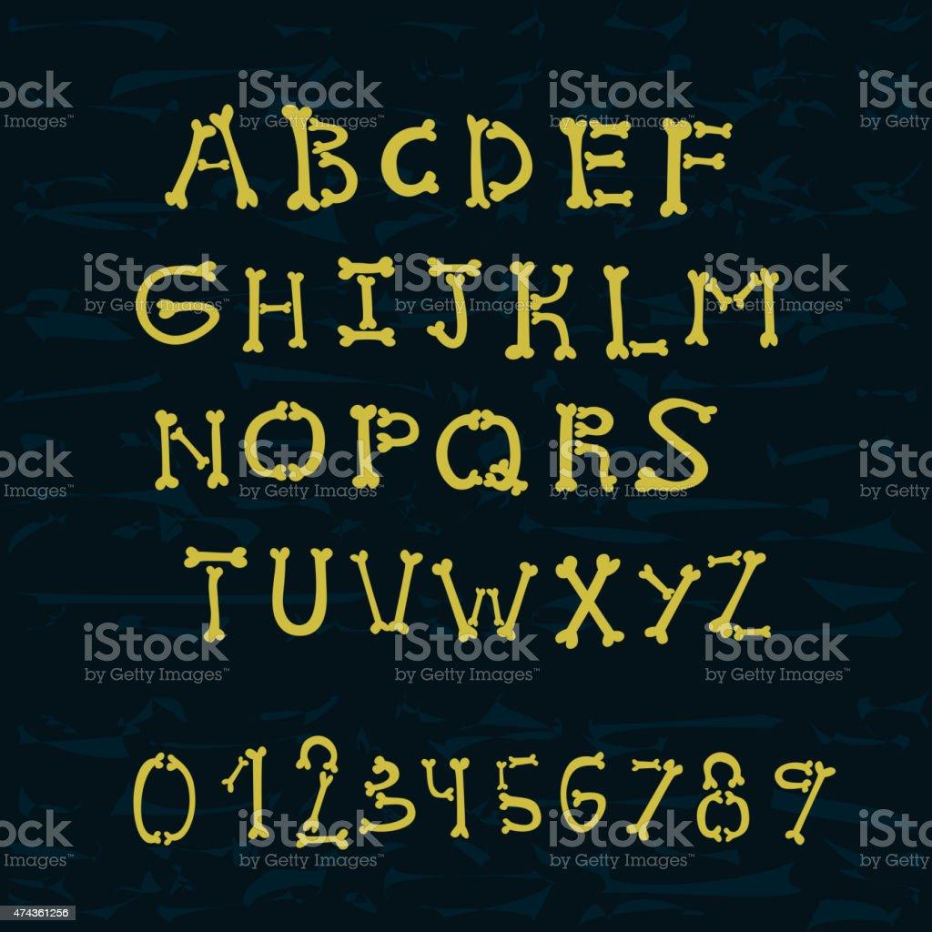 bones alphabet vector art illustration