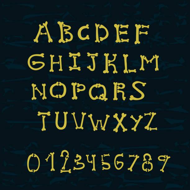 bones alphabet - piratenschrift stock-grafiken, -clipart, -cartoons und -symbole