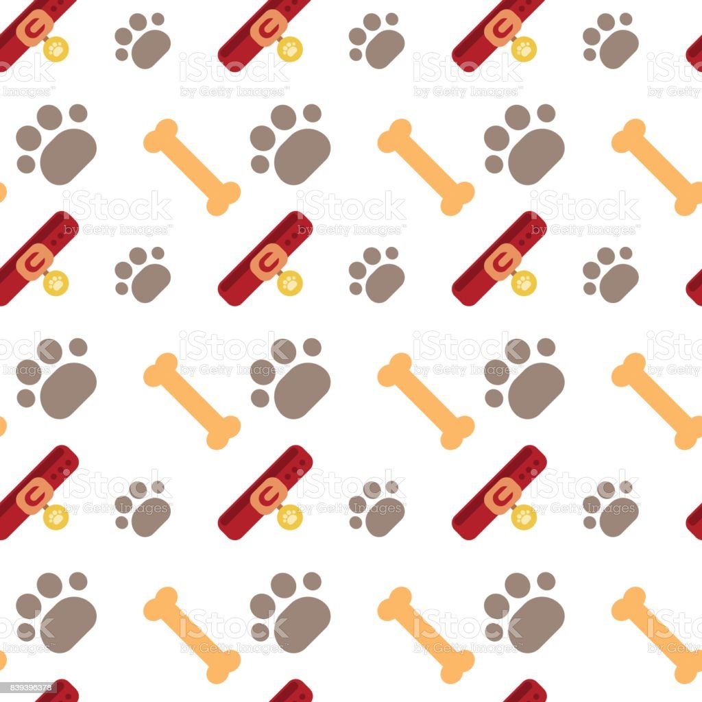 Bones And Dog Paw Seamless Pattern Abstract Ornament Pets Concept vector art illustration