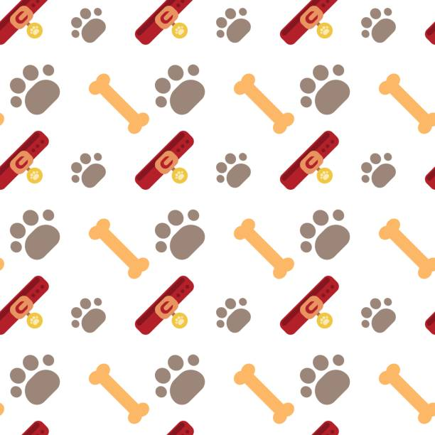 bones and dog paw seamless pattern abstract ornament pets concept - square foot garden stock illustrations, clip art, cartoons, & icons
