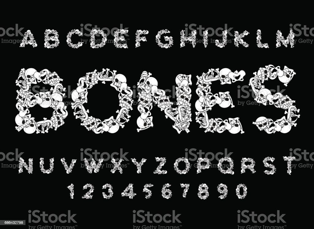 Knochenschriftart Anatomie Der Buchstaben Skelett Abc Schädel Und ...