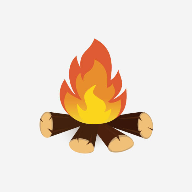 Bonfire cartoon vector isolated on white background. vector art illustration