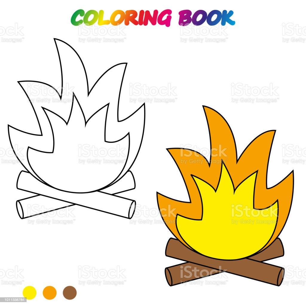 şenlik Ateşi Boyama Kitabı Okul öncesi çocuklar Yetiştirmek Için