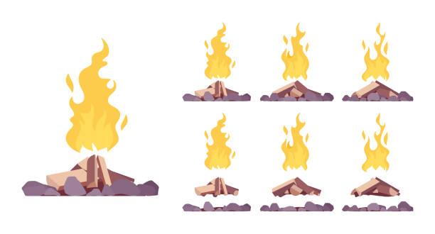 bildbanksillustrationer, clip art samt tecknat material och ikoner med set av bonfire - wood stone