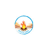 Bonfire. Fire. Fire logo. Vector cartoon style illustration of bonfire with logs. Fire flames icon for web. Isolated design on white background. - Vector