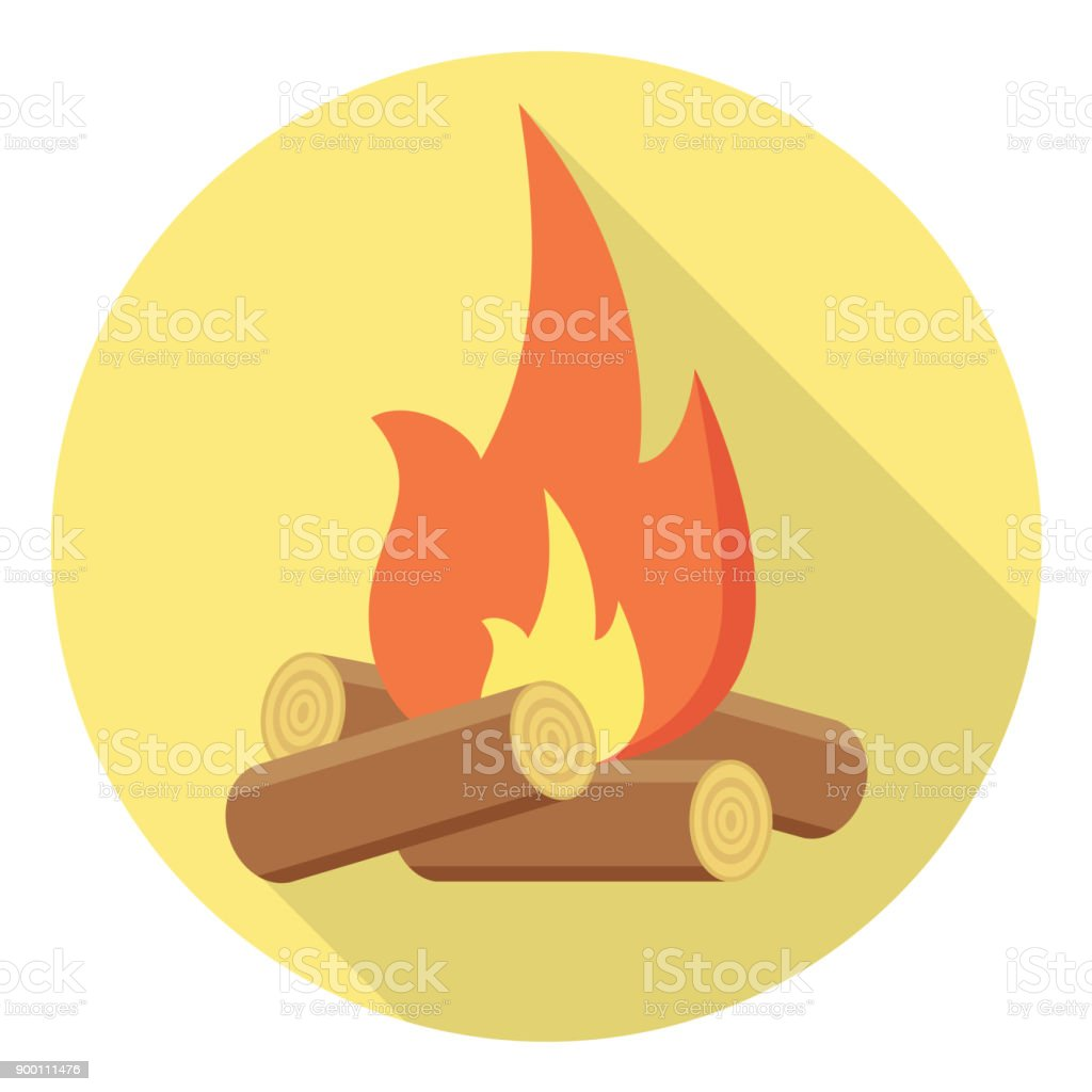 bonfire Flat Design vector art illustration