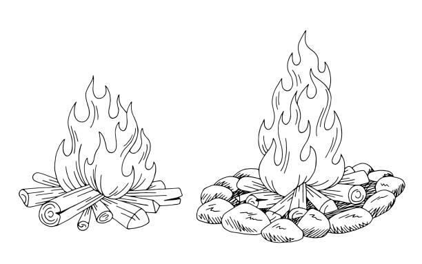 illustrazioni stock, clip art, cartoni animati e icone di tendenza di bonfire graphic black white isolated sketch illustration vector - falò