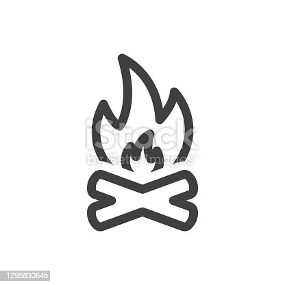 Bonfire icon. A simple linear representation of crossed logs and fire above them. Isolated vector on white background