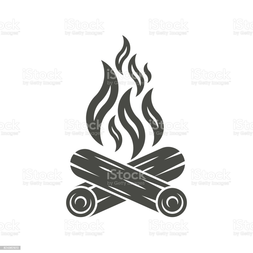 Bonfire icon. Campfire icon vector art illustration