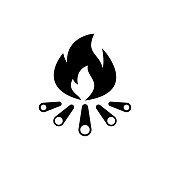 Bonfire icon flat vector simple isolated illustration signage template design trendy