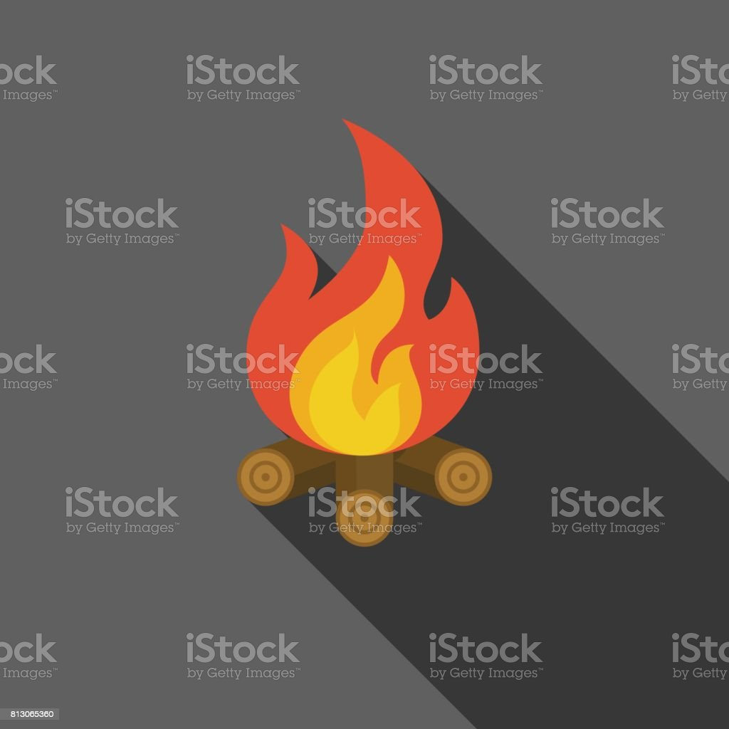 bonfire on fire wood icon vector art illustration