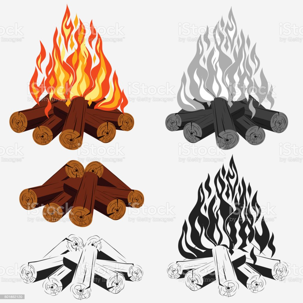 Bonfire set - camping vector art illustration