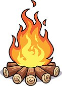 Vector illustration of a bonfire isolated on white.