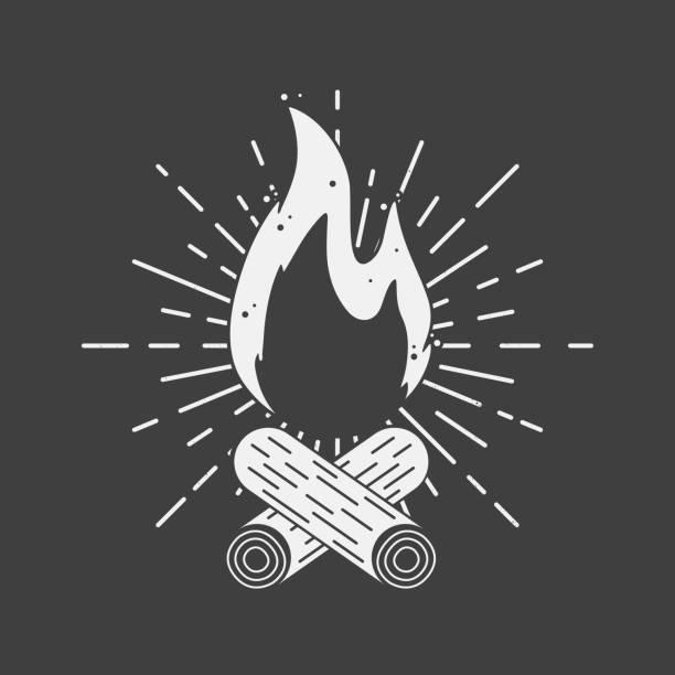 bildbanksillustrationer, clip art samt tecknat material och ikoner med bonfire vintage skylt med ljusstrålar. lägerelden retro design. vektorillustration - hand tänder ett ljus