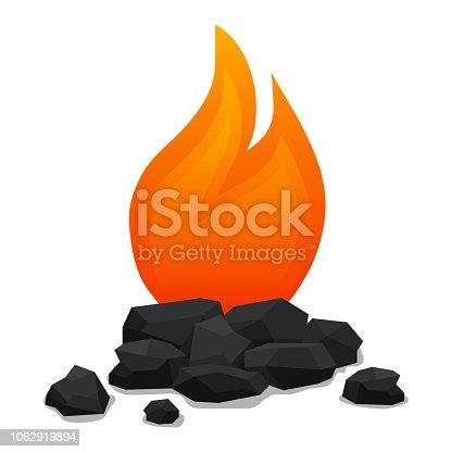 Bonfire with coals, realistic bonfire with extinct coals. Vector illustration.