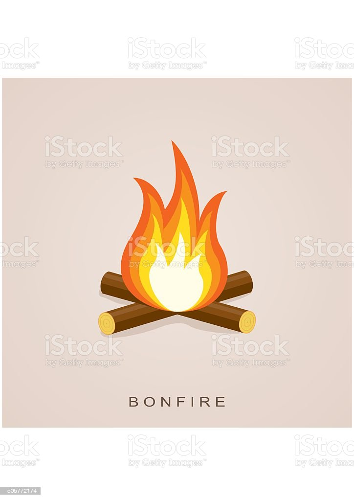 Bonfire with firewood. Fector Illustration vector art illustration