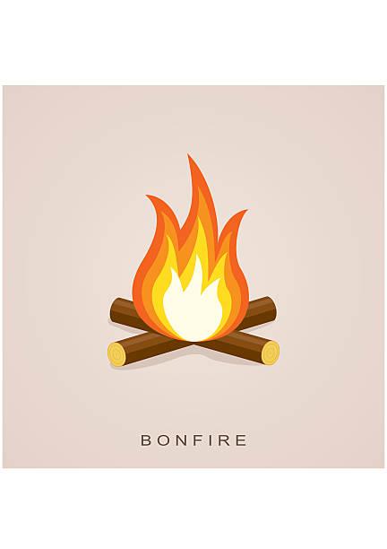 illustrazioni stock, clip art, cartoni animati e icone di tendenza di falò con legna da ardere. fector illustrazione - falò