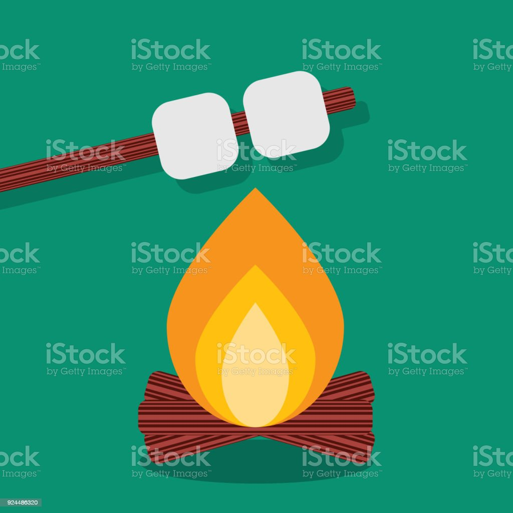 Bonfire with marshmallow, camping grill outdoor. Campfire night with food stick. Vector illustration vector art illustration