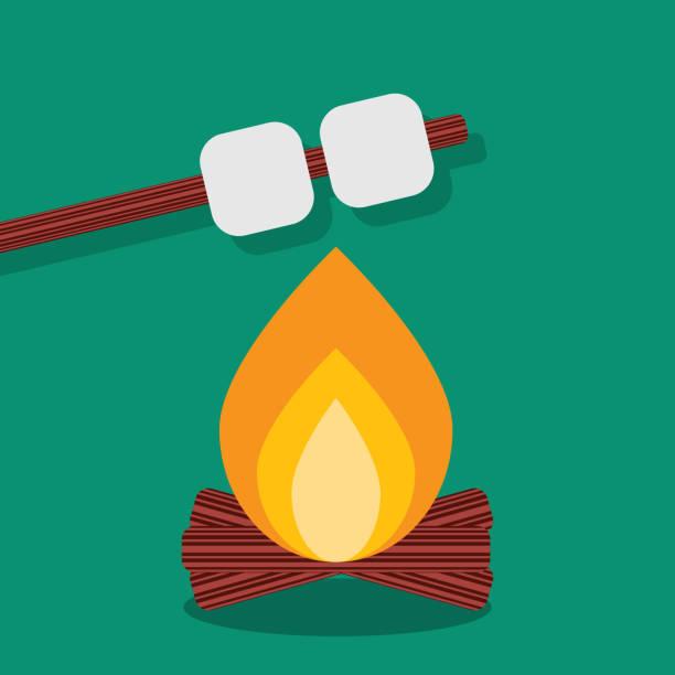 ilustrações de stock, clip art, desenhos animados e ícones de bonfire with marshmallow, camping grill outdoor. campfire night with food stick. vector illustration - burned cooking