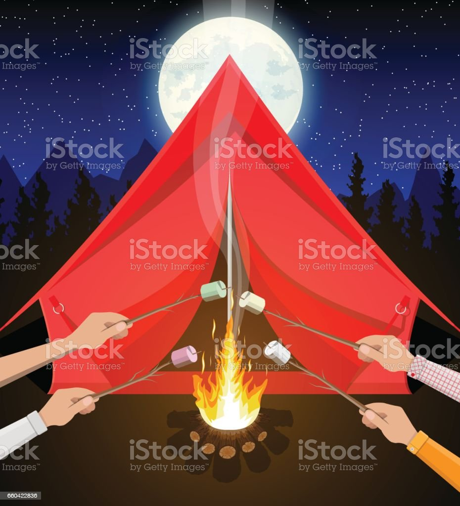 Bonfire with marshmallow. Logs and fire. vector art illustration