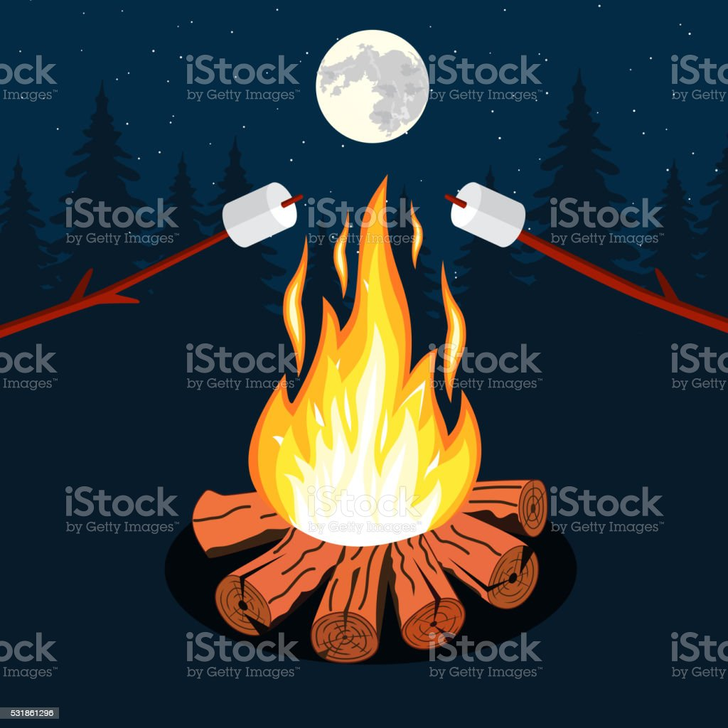 Bonfire with marshmallow vector art illustration
