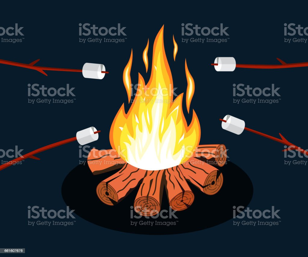 Bonfire with marshmallow. vector art illustration