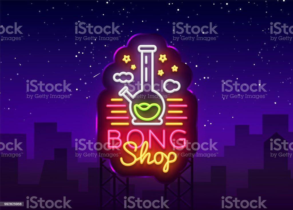 Bong Shop neon sign. Logo design template for shop advertising or signage. Tobacco Smoking Apparatus. Vector illustration. Billboard vector art illustration
