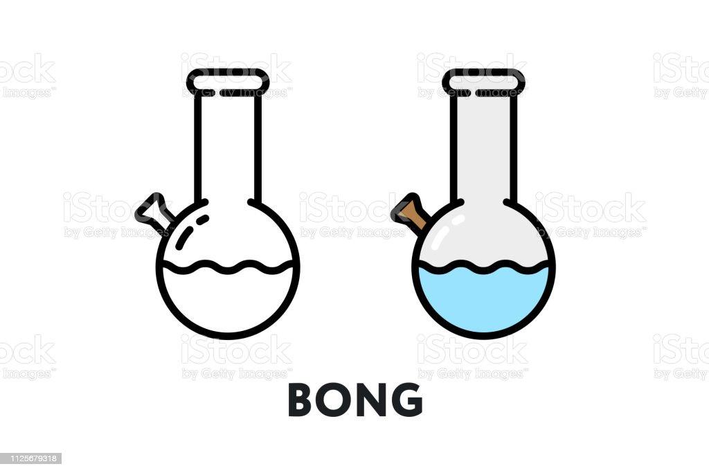 Bong Smoking Pipe Vector Flat Line Stroke Icon vector art illustration