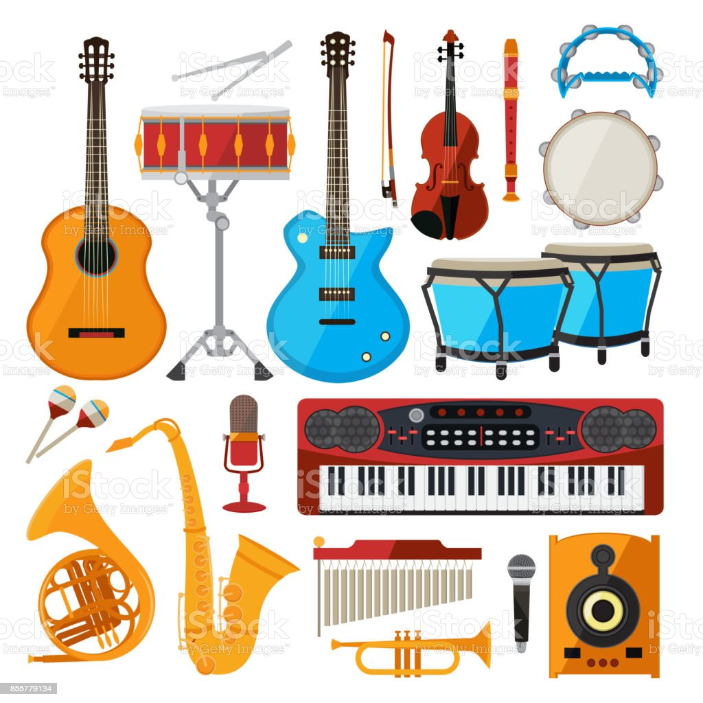 Bongo, drums, guitar and other musical instruments. Vector illustrations in cartoon style vector art illustration
